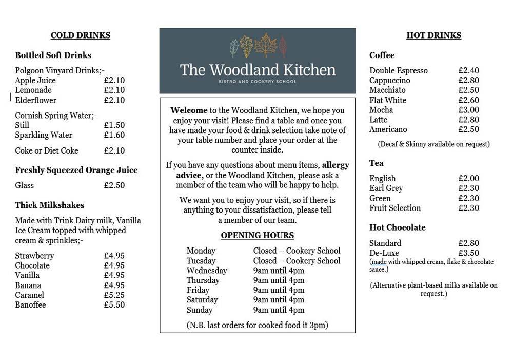 Woodland Kitchen Bistro Menu